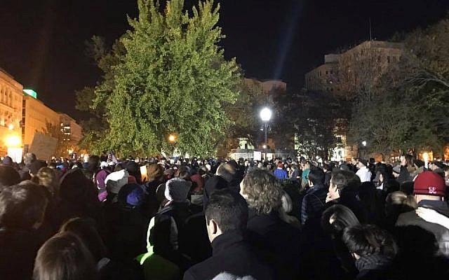 """Anti-trump vigil outside the White House, Lafayette Park, 11/12/16""  Taken by Author"