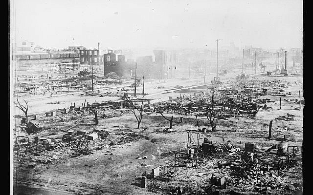 A contemporary photograph shows the ruins of the Greenwood District in Tulsa, Okla., after a white mob and local law enforcement attacked and killed hundreds of the neighborhood's Black residents, June 1921. (Library of Congress)