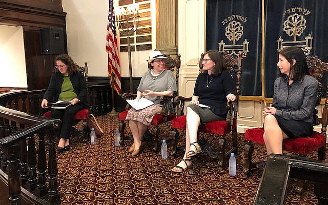 """Author, Gail Katz (second from the right) speaking at a JOFA 2019 program, """"My Body. Whose Decision?"""