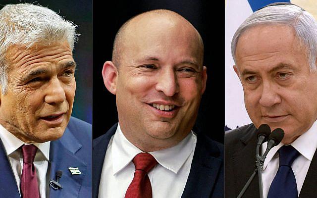 Lapid, Bennett, Netanyahu (credit Gil Cohen-Magen Menahem Kahana D)