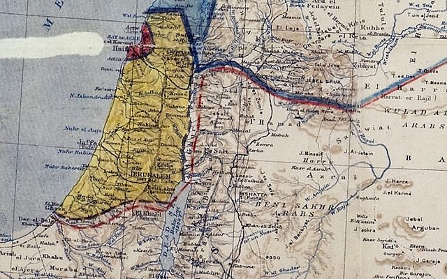 Detail of the map drawn up in the Sykes–Picot Agreement of 1916 (PD)