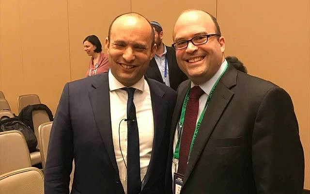Elie Weinstock with Naftali Bennett at AIPAC Policy Conference 2017