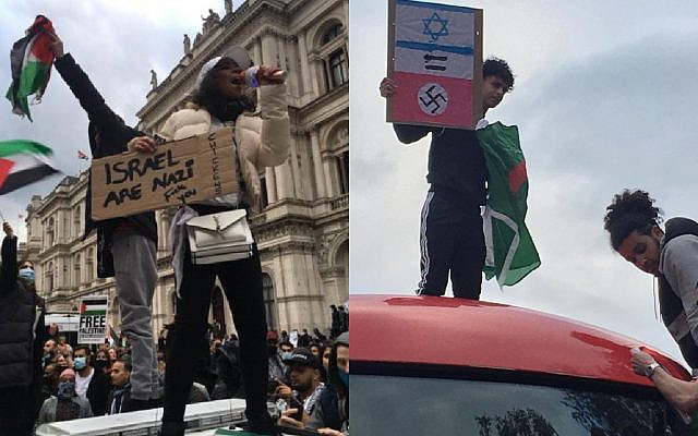 Demonstrators hold up banners at Tuesday's London demonstration, comparing Israel to Nazism  (via Jewish News)