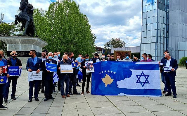 Pro-Israel rally in Kosovo. Photo by Radio Evropa e Lire. Used with permission.