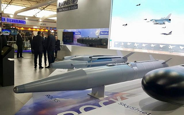 A 'Rocks' air-to-surface 'bunker buster' missile displayed at the Aero India trade show in Bangalore, India, in February 2019. (Rafael Advanced Defense Systems)
