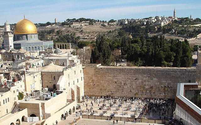 In a world of fault lines, here is the sharpest one -- on the top of the platform, it's the Islamic world and the East, on the plaza at the Western Wall below, it's the Jewish world and the West. (Photo credit: Golasso, CC via Wikimedia Commons)
