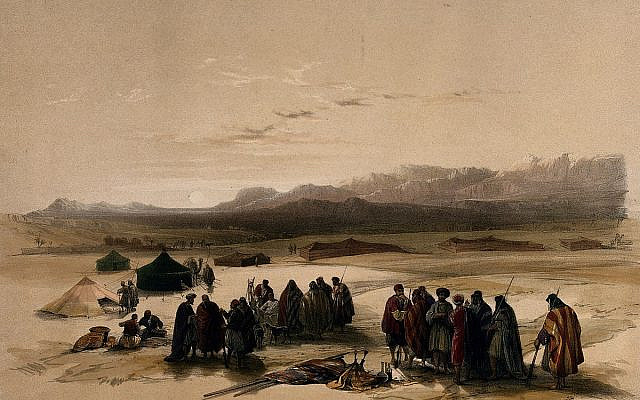 Encampment in the desert, with Mount Seir in the distance, Wady Arabah. Colored lithograph by Louis Haghe after David Roberts, 1849. (Wikimedia Commons)