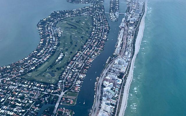 Miami Beach from the air, June 25, 2021. (Courtesy Yoni Leviatan)