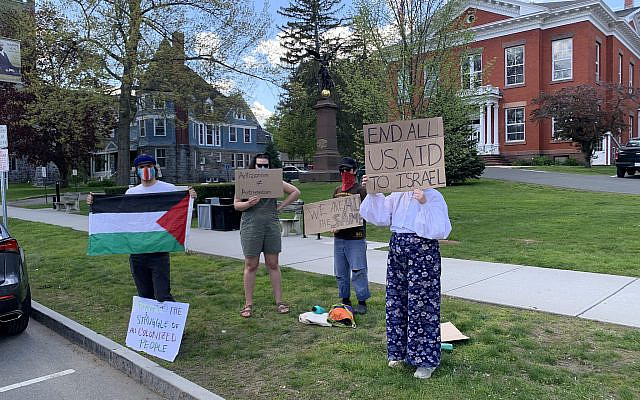 """Pro-Palestinian protesters gathered in a warm up before a larger demonstration in Great Barrington, Mass, last month.  Placards later became even more vitriolic, including """"Death to Israel"""" and """"Death to Amerikkka"""".  (source of photo: author)"""