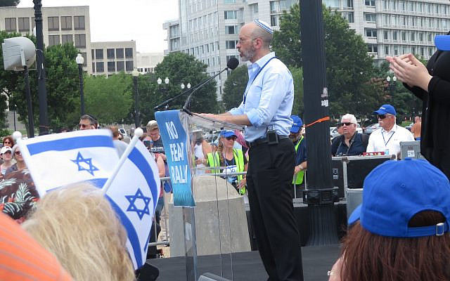"""Elisha Wiesel speaks at the No Fear rally in solidarity with """"the Jewish people and Israel"""" in Washington, D.C., July 11, 2021. (Ron Kampeas)"""