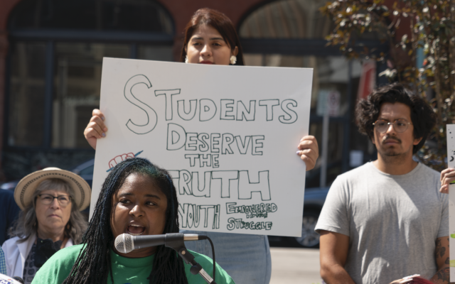 Teachers, students and school board members in the Milwaukee, Wisconsin area hold a news conference opposing new bills seeking to bar schools from teaching ideas linked to critical race theory, June 12, 2021. (Milwaukee Teachers' Education Association/Flickr Commons)