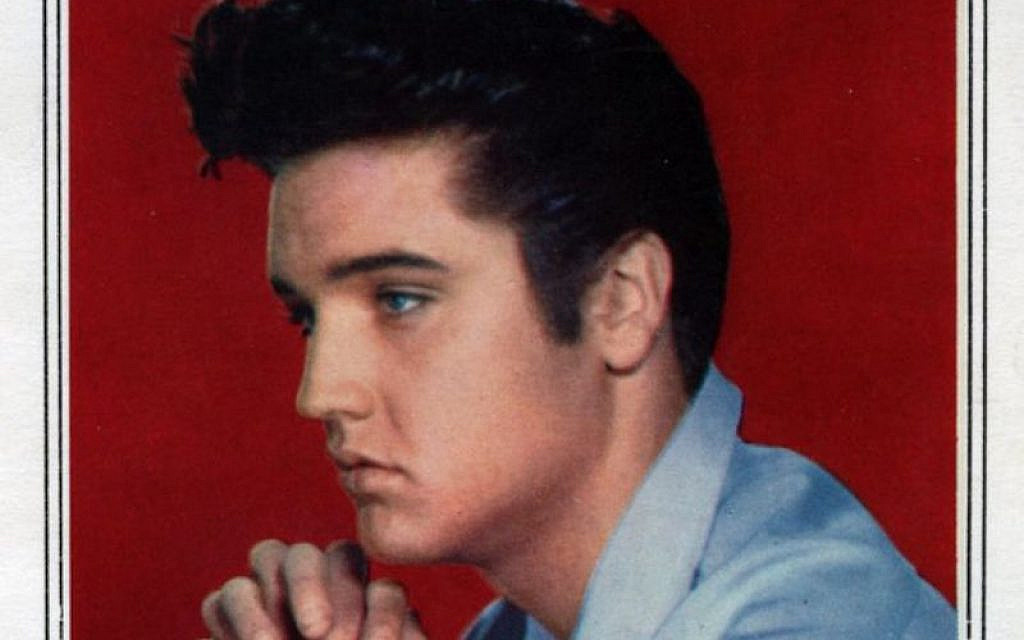 Detail of a Rosh Hashanah greeting featuring Elvis Presley in a photo from the 1960s, made in Israel in the 1970s. (Courtesy Israel Museum)
