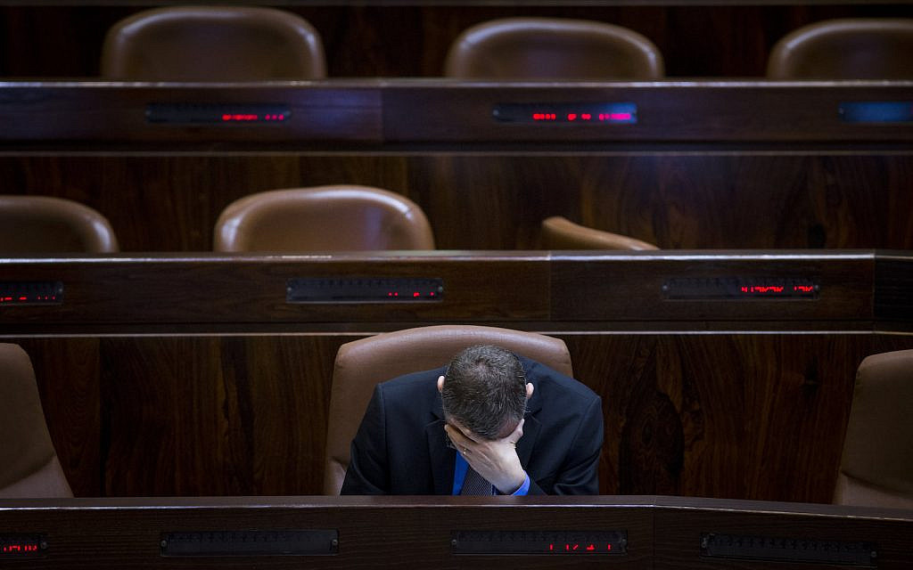 IIllustrative: Then Minister of Tourism Yariv Levin at the Knesset during a special session about the Israel Railways work on Shabbat on September 19, 2016. (Yonatan Sindel/Flash90)