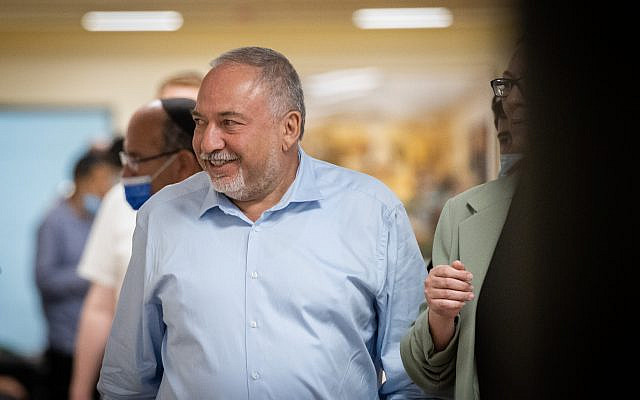 Yisrael Beytenu party chairman Avigdor Liberman arrives at a faction meeting in the Knesset in Jerusalem on May 31, 2021. (Yonatan Sindel/Flash90)