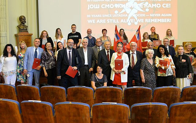 A group photo, including camp survivors, from the Jasenovac Martyrs event held July 7, 2021 in Belgrade. Photo Credit: Lola Djordjevic