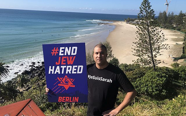 Tunde Reid-Kapo showing solidarity with the Berlin Jewish community from Snapper Rocks, home of the World Surfing League Quiksilver Pro where Mick Fanning, Kelly Slater and Steph Gilmore became surfing champions.