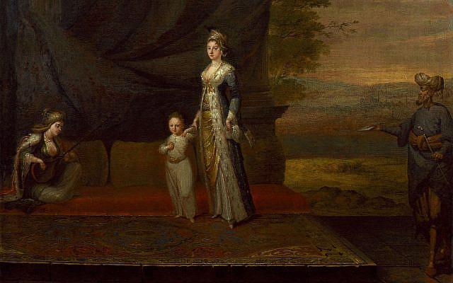 Lady Mary Wortley Montagu with her son, Edward Wortley Montagu, and attendants (CC via Wikimedia)