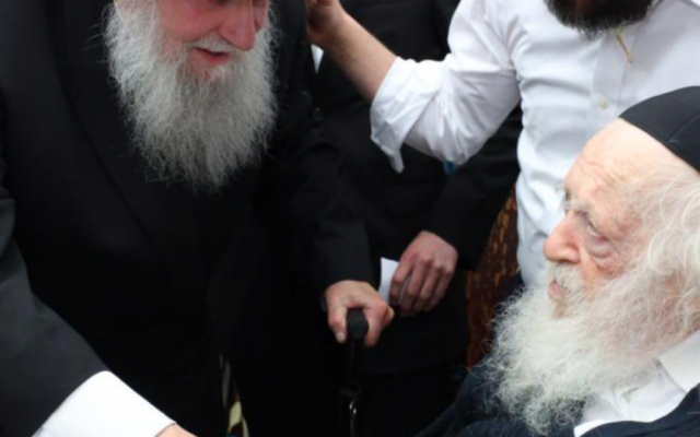 Left to Right:  Rabbi Dovid Cohen of Brooklyn and Rabbi Chaim Kanievsky in Bnei Brak (from the author's private collection)