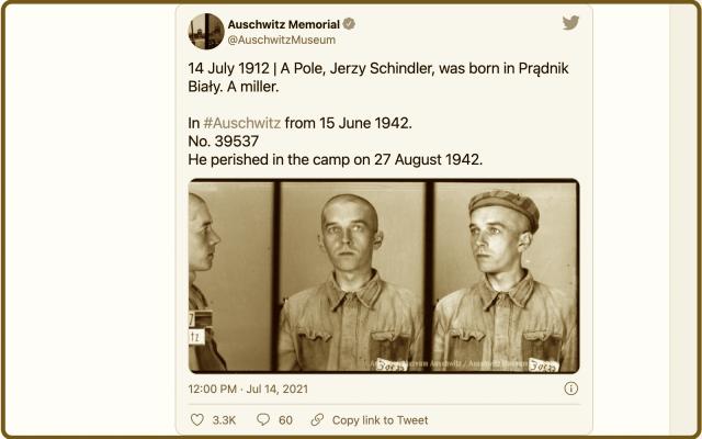 Auschwitz Memorial tweet (Screenshot)