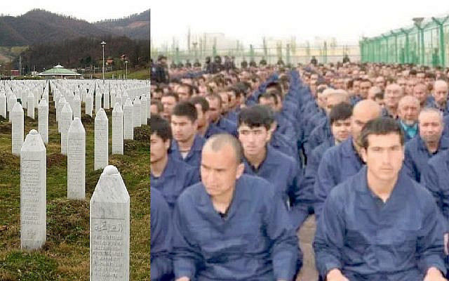 Left: Graves mark victims of the Srebrenica genocide. Right: Uyghur men in prison camps in northwestern China (Jewish News)