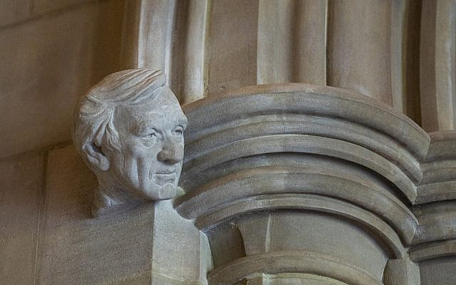 The installed bust of Elie Wiesel on the Human Rights Porch in the National Cathedral in Washington, DC. (Courtesy National Cathedral)