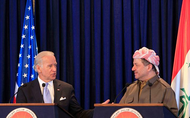 US Vice President Joe Biden, left, and President of the Kurdish controlled part of Iraq Masoud Barzani talk during a press conference in Irbi,  350 kilometers (217 miles) north of Baghdad, Iraq, Thursday, Sept. 17 2009. l(AP Photo/Yahya Ahmed)