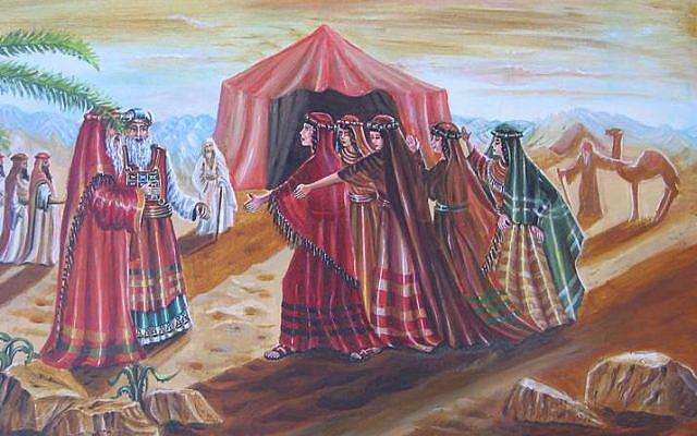 """ציורי תנ""""ך / בנות צלפחד /ציירה: אהובה קליין"""