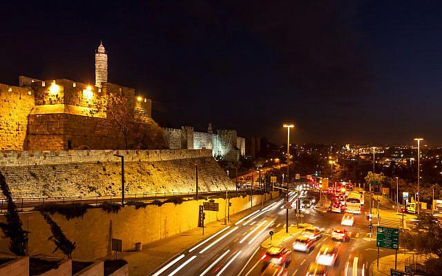 Tower of David and traffic on Jaffa street in Jerusalem (Stock)