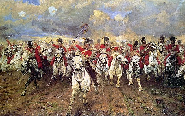 """""""Scotland Forever!"""" (1881) by Lady Butler depicting the cavalry charge of the Royal Scots Greys at the Battle of Waterloo in 1815. (Public domain/ Wikimedia Commons)"""