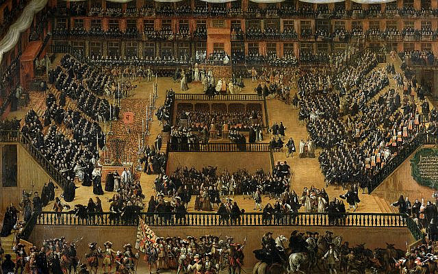 1683 painting by Francisco Rizi depicting the auto-da-fé held in Plaza Mayor, Madrid, in 1680. Public Domain, https://commons.wikimedia.org/w/index.php?curid=31407824
