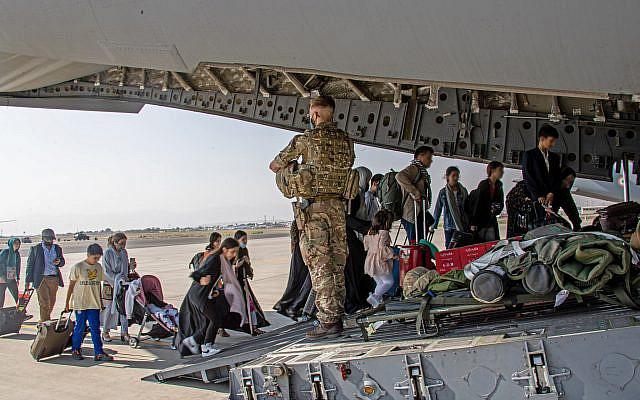MoD handout photo of British citizens and dual nationals residing in Afghanistan being relocated to the UK, as part of Operation PITTING, the UK Armed Forces are enabling the relocation of personnel and others from Afghanistan. Issue date: Monday August 16, 2021.  (Via Jewish News)