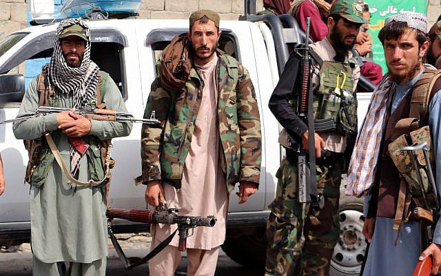 Kabul, Afghanistan. 22nd Aug, 2021. Taliban fighters patrol in the streets of a neighborhood in Kabul, Afghanistan, on Sunday, August. 22, 2021. Photo by Bashir Darwish/UPI Credit: UPI/Alamy Live News  - via Jewish News