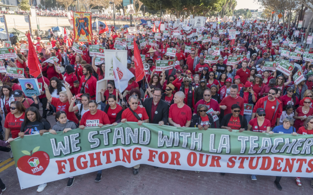 A demonstration in support of Los Angeles teachers and their union drew 50,000 supporters, March 2014. (Milwaukee Teachers' Education Association/Flickr Commons)