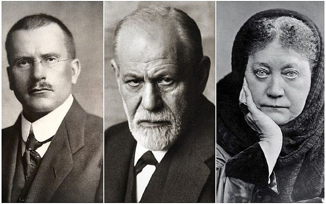 Carl G. Jung, Sigmund Freud and Helena P. Blavatsky. (The three photos are in public domain.)