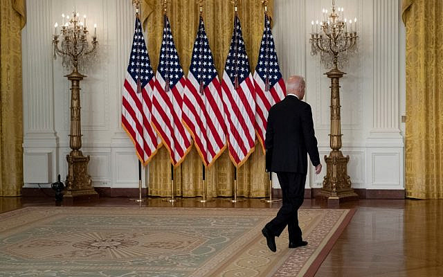 US President Joe Biden leaves the podium, after speaking about the Taliban's takeover of Afghanistan, from the East Room of the White House, on August 16, 2021, in Washington, DC. (Brendan Smialowski/AFP)
