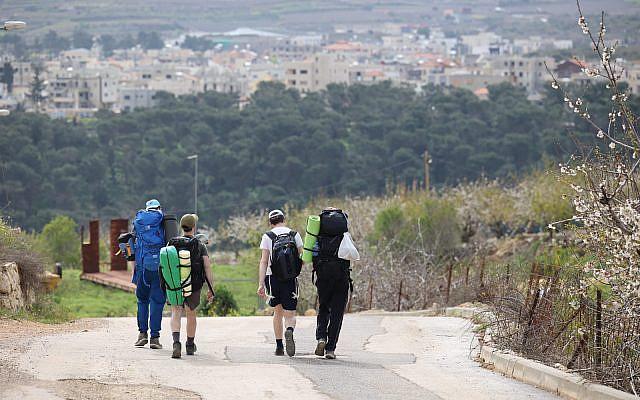 Illustrative: Hiking the Golan trail from the Northern Druze village of Majdal Shams to Odem. April 05, 2021. (Maor Kinsbursky/FLASH90)