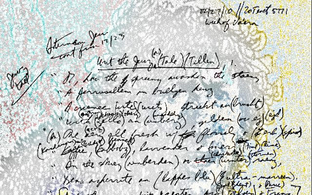 Photo of first page of Eternal Jew's Tale in author's notebook. Photo and superimposed art by author