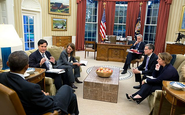 President Barack Obama holds a meeting on the government's Ebola response, in the Oval Office, Oct. 27, 2014. Attending, from left, are: Ebola Response Coordinator Ron Klain; Health and Human Services Secretary Sylvia Mathews Burwell; Chief of Staff Denis McDonough; Leslie Dach, Senior Counsel, U.S. Department of Health and Human Services; and Lisa Monaco, Assistant to the President for Homeland Security and Counterterrorism. (Credit: Wikipedia/Official White House Photo by Pete Souza/ Source: https://www.flickr.com/photos/obamawhitehouse/16168102163// via Jewish News )