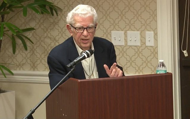 Rabbi Richard Hirsch delivers a Martin Luther King Day lecture titled 'Israel and American Jewry — why we need each other' at the Sinai Residences in Boca Raton, Florida, January 15, 2018. (YouTube via JTA)