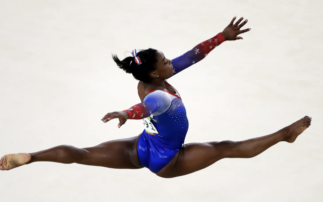 Simone Biles, 2016 Olympics, Photo by Julian Finney/Getty published on texasmonthly.com