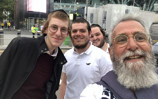 Spurs fans and author outside the stadium