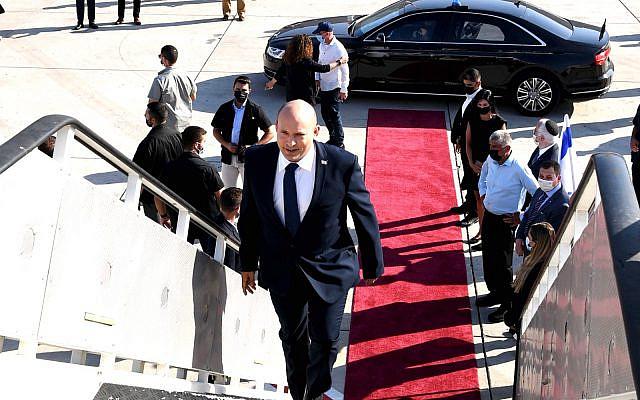 Prime Minister Naftali Bennett departs for Washington on August 24, 2021 (Avi Ohayon/GPO)