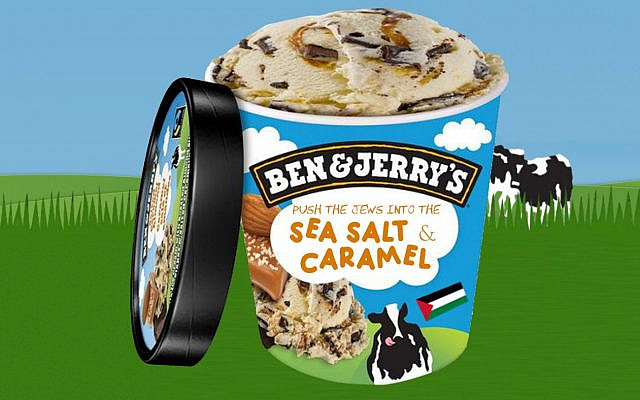 A picture of a Ben and Jerry's pint of ice cream with the text 'Push the Jews into the Sea Salt and Caramel.' (Twitter)