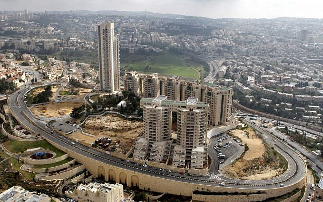A bird's eye view of the Holyland complex, one of the first of Jerusalem's high-rise projects. (Nati Shochat/Flash 90)