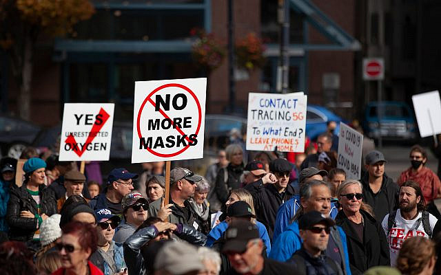Demonstrators protest against mask wearing and other restrictions meant to halt the spread of COVID-19, Vancouver, Canada, October 17, 2020. (GoToVan/Flickr Commons)