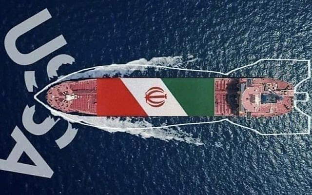 A graphic presentation from a Hizbullah supporter showing an Iranian oil tanker smashing U.S. sanctions and heading to Lebanon (Twitter)