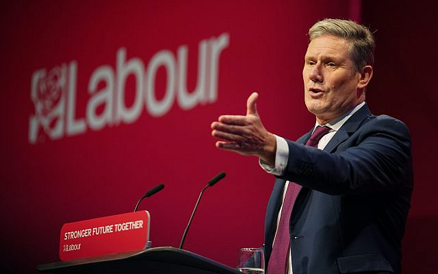 Labour party leader Sir Keir Starmer delivers his keynote speech at the Labour Party conference in Brighton. Via Jewish News