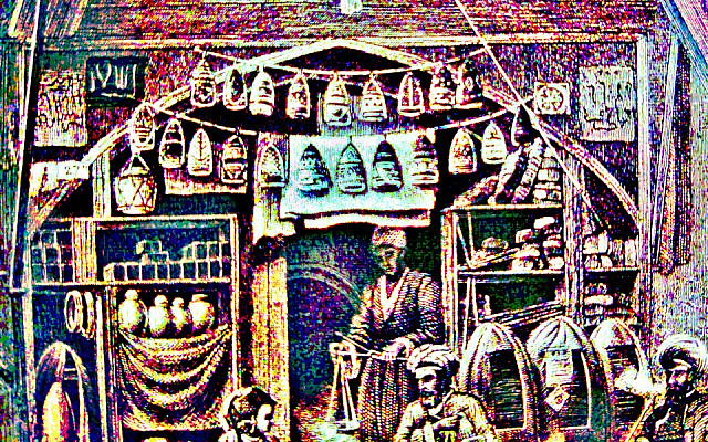 A Greek Diplomat's Treasure Shop, Modified and colorized image from the public domain book, Picturesque Palestine, published 1884, owned by the author.