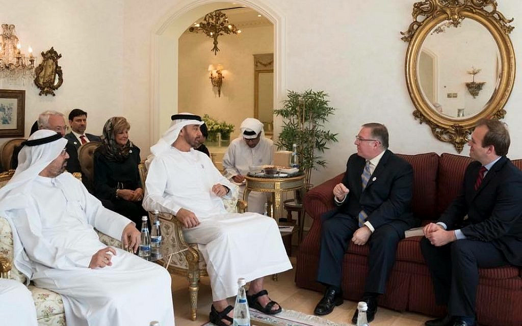 Crown Prince Sheikh Mohammed bin Zayed al Nahyan meets with Joel C. Rosenberg and his delegation of Evangelical leaders at his palace in Abu Dhabi, October 2018 (Courtesy of the UAE Royal Palace)
