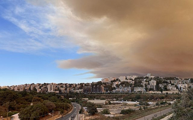 Sky above Jerusalem on August 15, 2021, following the wildfire on the outskirts of the city. Photo by Galit Palzur